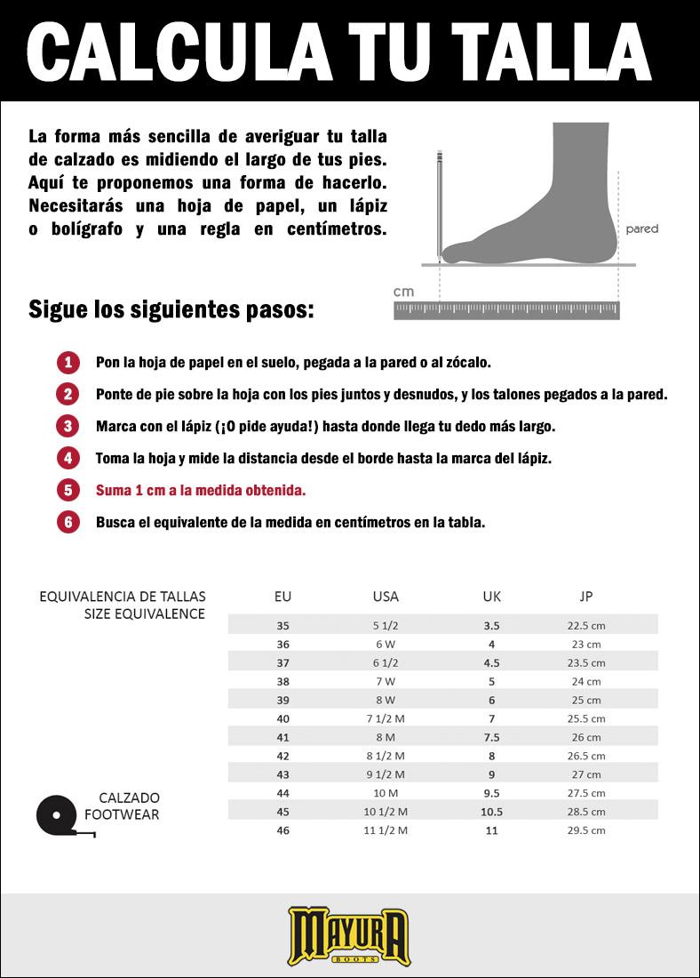 Calcula tu talla de bota